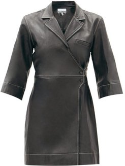 Cropped-sleeve Leather Wrap Dress - Womens - Black