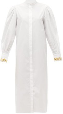 Embroidered-cuff Balloon-sleeve Cotton Shirt Dress - Womens - White
