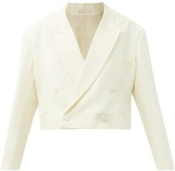 Cropped Double-breasted Wool-twill Tux Jacket - Womens - Ivory