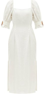 Pascale Square-neck Side-slit Linen Dress - Womens - Ivory