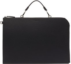 Standout Grained-leather Document Holder - Mens - Black