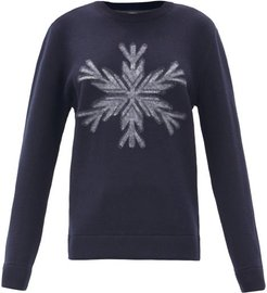 Snowflake-intarsia Wool Sweater - Womens - Navy Print
