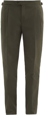 Pressed-crease Cotton-twill Tapered Trousers - Mens - Green