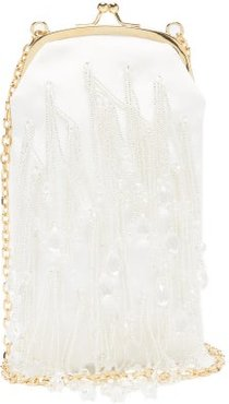 Bead-embroidered Mikado Clutch - Womens - White Multi