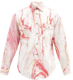 Marble-print Cotton-twill Western Shirt - Mens - Pink