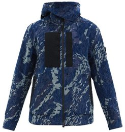 Geometric-print Cotton-corduroy Hooded Jacket - Mens - Navy