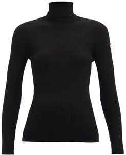 Ancelle Roll-neck Ribbed-jersey Sweater - Womens - Black