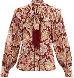 Charm Fringed Paisley-print Silk Blouse - Womens - Red Multi