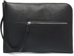 Zip-front Leather Laptop Pouch - Mens - Black