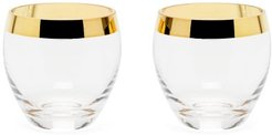 Set Of Two Gabriel 24kt Gilded-edge Glasses - Gold Multi