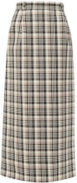 Checked A-line Wool Maxi Skirt - Womens - Brown Multi