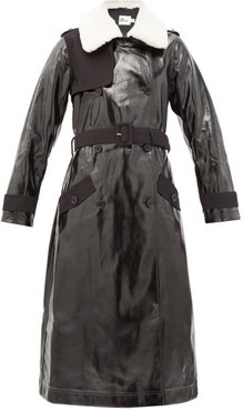 Double-breasted Belted Faux-leather Trench Coat - Womens - Black