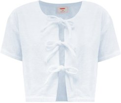 Tie-front Cotton-terry Blouse - Womens - Light Blue