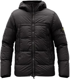 Crinkle Reps Quilted Down Shell Hooded Jacket - Mens - Black