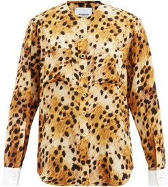 Contrast-cuff Leopard-print Silk Blouse - Womens - Animal