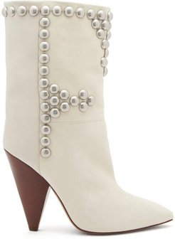 Layo Studded Cone-heel Leather Calf Boots - Womens - White