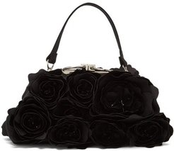 Rose-appliqué Satin Clutch Bag - Womens - Black