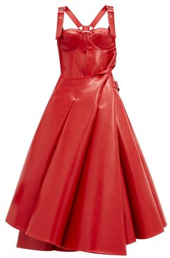 Bustier-bodice Faux-leather Flared Dress - Womens - Red