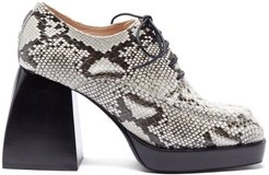 Bulla Evie Lace-up Snake-effect Leather Pumps - Womens - Python