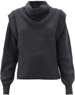 Poppy Exaggerated-shoulder Wool & Cashmere Sweater - Womens - Grey