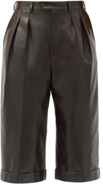 High-rise Leather Bermuda Shorts - Womens - Brown