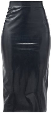 High-rise Latex Midi Skirt - Womens - Black