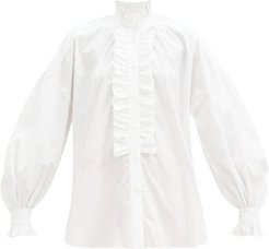 High-neck Ruffled Cotton Shirt - Womens - Ivory