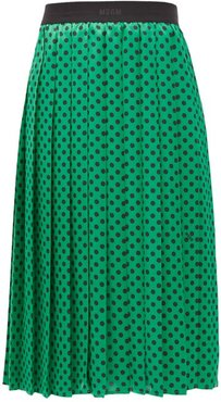Polka-dot Pleated Midi Skirt - Womens - Green
