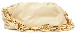 The Chain Pouch Leather Clutch Bag - Womens - Cream