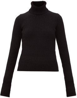 Roll-neck Ribbed Wool-blend Sweater - Womens - Black