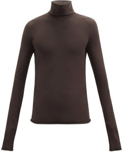 Jersey Roll-neck Sweater - Mens - Brown