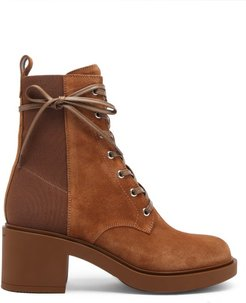 Panelled 45 Laced Block-heel Suede Boots - Womens - Tan