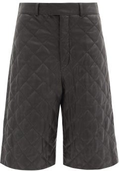 Ossi Quilted-leather Wide-leg Shorts - Womens - Black