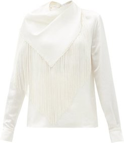 Anderson Fringed Silk-seersucker Blouse - Womens - Ivory