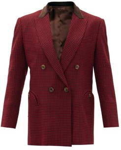 Fair & Square Double-breasted Checked Wool Blazer - Womens - Black Red