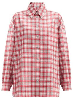 Dropped-sleeve Checked Wool-flannel Shirt - Womens - Red Multi