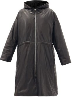 Cocon Hooded Padded Leather Coat - Womens - Black