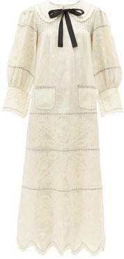 Rushka Floral-embroidered Linen Midi Dress - Womens - Ivory