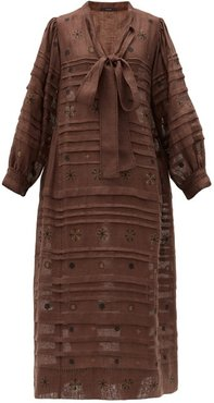 Constellation Embroidered Linen Midi Dress - Womens - Brown