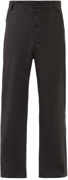 Straight-leg Cotton-blend Trousers - Mens - Black