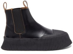 Ribbed-sole Leather Chelsea Boots - Womens - Black