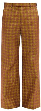 Check Cotton-blend Flared-leg Trousers - Mens - Brown Multi