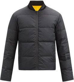 Reversible Logo-appliqué Quilted Down Jacket - Mens - Black Yellow