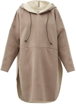 Hooded Wool-blend Felted-flannel Poncho - Womens - Beige