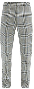 Prince Of Wales-check Wool-twill Suit Trousers - Mens - Grey