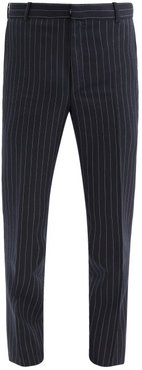 Pinstriped Wool-twill Suit Trousers - Mens - Navy White
