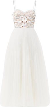 Lace-bodice Pleated Tulle Dress - Womens - White