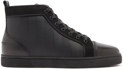 Louis High-top Chevron-panel Leather Trainers - Mens - Black