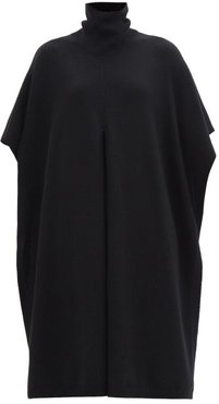 Roll-neck Front-slit Cashmere Poncho - Womens - Black