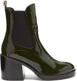 Madison Patent-leather Chelsea Boots - Womens - Khaki